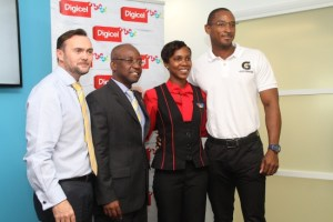 (From left) Digicel's chief executive officer Johnny Ingle, Minister of Sports Stephen Lashley, Berger Paints' Renee Cobham and RMJ Agencies' Ricky Nurse at today's launch.