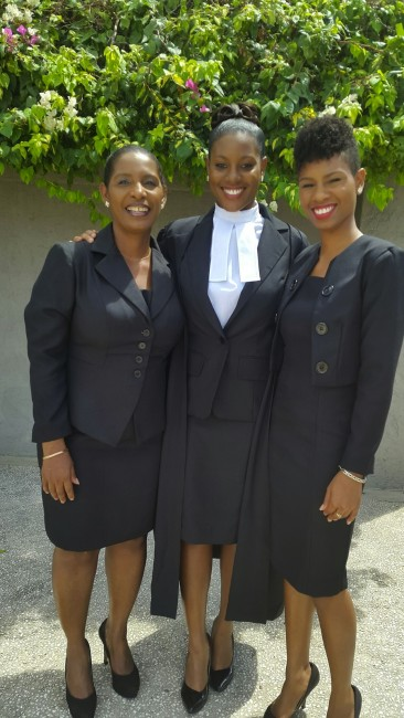 From left, Mother Audrey, Janaye and her sister, attorney-at-law Jamilia Burgess.