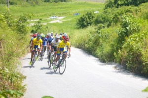 Darren Mathews of Barbados leading the pack at one stage of the race going up Stewart Hill.