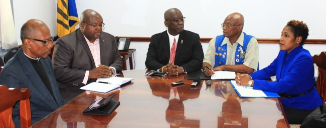 (From left) Dean of the St Michael Cathedral Canon Noel Burke, Chairman of the Kiwanis Silver Dollars for Children Drive Rory Hunte, Minister of Education Ronald Jones, President of the Kiwanis Club of Bridgetown Cyril Burke and Director of Communications Flow Barbados Marilyn Sealy at today's launch of Silver Dollar For Children Drive.