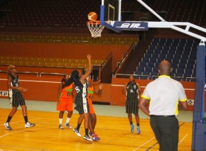 Jada Saunders (center in black) top scored with 19 for University of the West Indies. (Pictures by Morissa Lindsay)