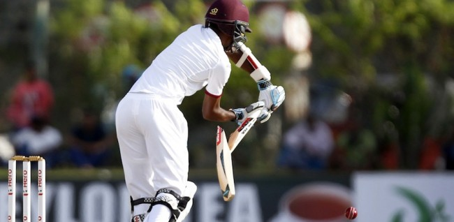 Kraigg Brathwaite first had his bat broken by Dhammika Prasad; then he had his defence breached by spinner Rangana Herath for 19.