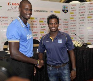 Captains Jason Holder (left) and Angelo Mathews at today's press conference.