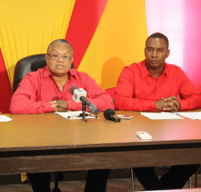 General Secretary Dr Jerome Walcott and BLP Christ Church East caretaker candidate Wilfred Abrahams.