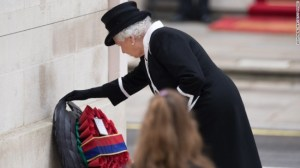 Britain's Queen Elizabeth laying a wreath during a service to commemorate Anzac Day on April 25.