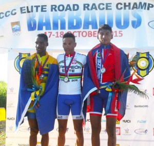 From left, Jamol Eastmond captured silver for Barbados in the under-23 category and posed on the podium with Emile Demazy of Martinique (center) who came first and Joslyn Chavaria of Belize who was third.