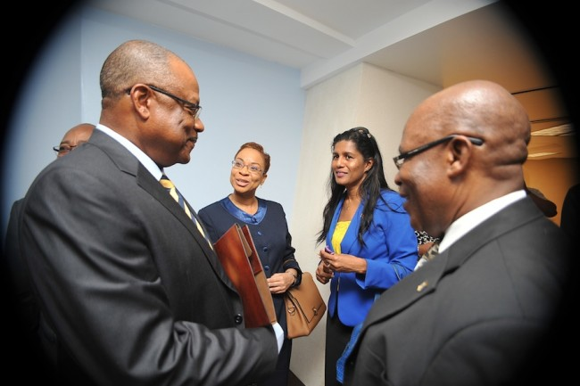 Opposition Shadow Minister of Health Dr Maria Agard (second from left), in the company of Minister of Health John Boyce (left), Minister of Labour Dr Esther Byer (second from right) and Minister of the Environment Dr Denis Lowe (right).
