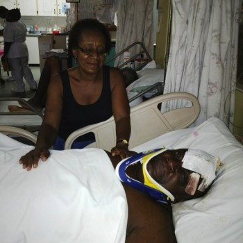 Anthony Bentham with friend Colleen Baker while recuperating at the Queen Elizabeth Hospital.