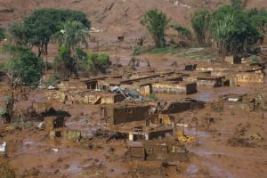 The Bento Rodrigues district covered with mud after a dam owned by Vale SA and BHP Billiton Ltd burst in Mariana, Brazil, today.