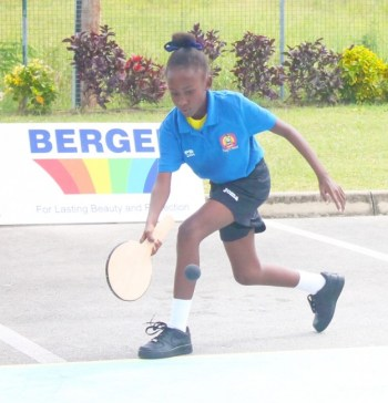 Tyler Stuart of Westbury Primary was one of three females involved in the National Primary Schools Road Tennis Championship today.