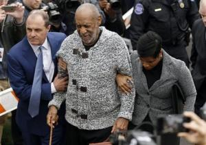 Bill Cosby arriving at court to face a felony charge of aggravated indecent assault today in Elkins Park, Pennsylvania.