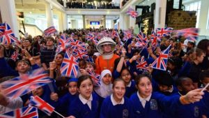 Children cheering as they watched the launch at London's  Science Museum.