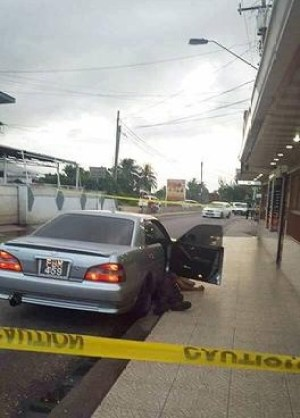 Crime scene where two were killed in Aranguez.