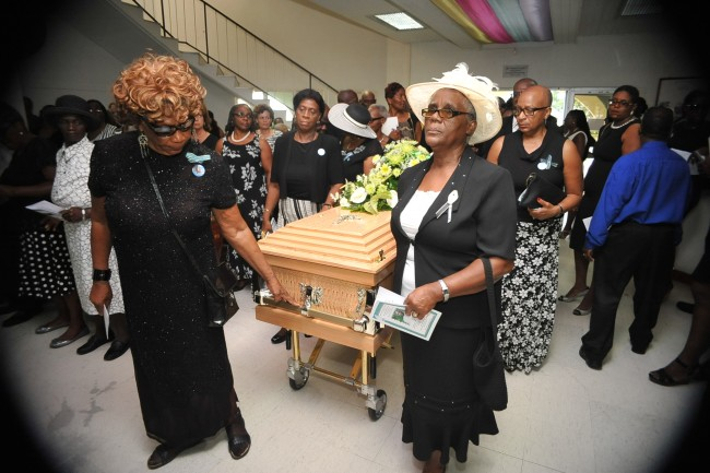 The funeral service took place at the Abundant Life Assembly.