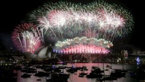 Fireworks lighting up the Sydney Opera House and Harbour Bridge.