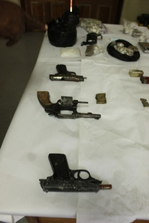 Police recovered a number of weapons and ammunition.