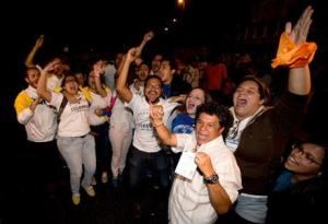 Opposition supporters celebrating in Caracas, Venezuela, early today.