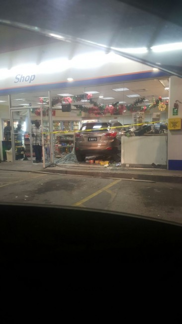 The vehicle plunged into the store taking everyone by surprise.