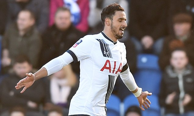 COLCHESTER, ENGLAND - JANUARY 30: Nacer Chadli of Tottenham Hotspur celebrates scoring his team's first goal during the Emirates FA Cup Fourth Round match between Colchester United and Tottenham Hotspur at Weston Homes Community Stadium on January 30, 2016 in Colchester, England.  (Photo by Michael Regan/Getty Images)