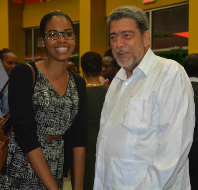 A St Vincent and the Grenadines student greeting Prime Minister  Dr Ralph Gonsalves.