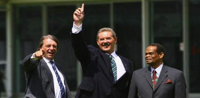 Allen Stanford arrives at Lord in 2008 flanked by then ECB  chairman Giles Clarke  and then WICB president Julian Hunte.