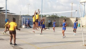 Christ Church Foundation's defence goes up to block Cherise Austin of Combermere. (Picture by Morissa Lindsay)