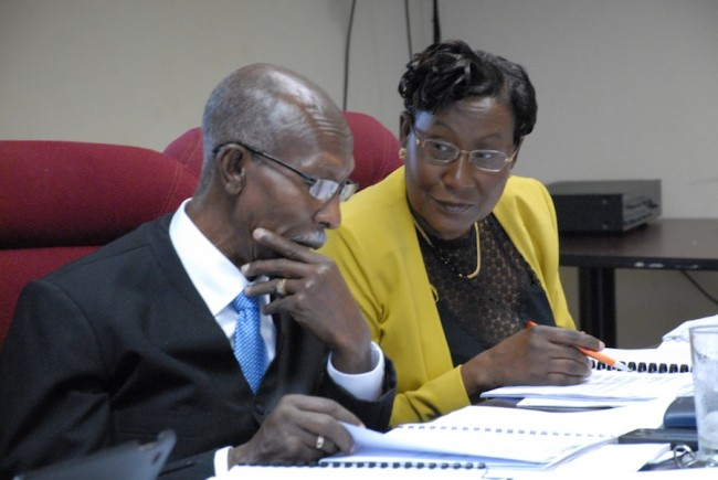 Tribunal Chairman Hal Gollop (left) and Beverley Beckles consulting during today's hearing.