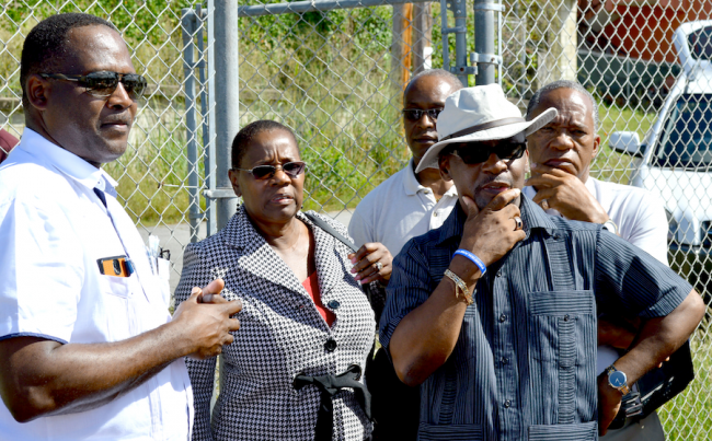 MP Donville Inniss (left) arrived in time to catch the end of the Minister of Sports Stephen Lashley's tour that ended in his constituency. He brought to the minister's attention some of the major challenges at the Desmond Haynes facility.