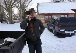 Ryan Bundy talking on the phone at the Malheur National Wildlife Refuge near Burns, Oregon.