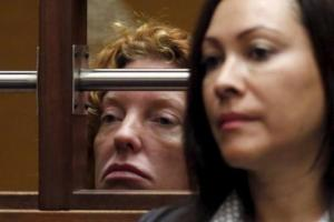 """Tonya Couch (left), mother of the Texas teenager derided for his """"affluenza"""" defence in a deadly drunken-driving case, appears in court for her extradition hearing in Los Angeles, California, today."""