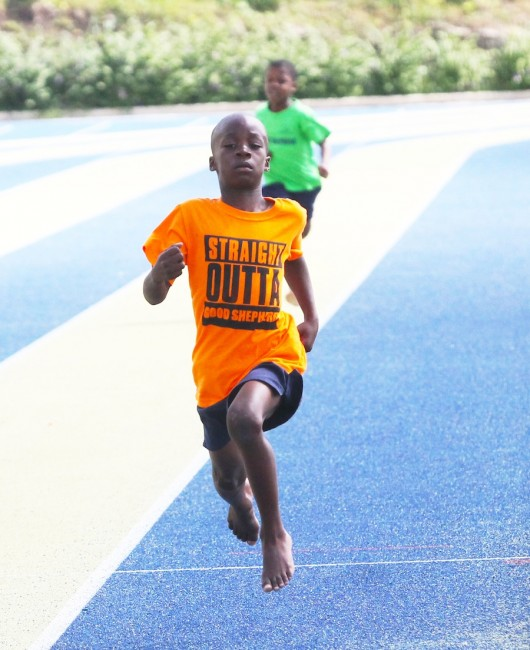 Victor ludorum Jayden Cummings was unstoppable among  the under-nine boys, inclusive of this 150m which he won with ease.