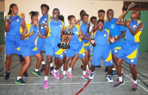 New queens of the National Sports Council's Wanda Agard Belgrave Championship Springer Memorial celebrate their success over Combermere. (Pictures by Morissa Lindsay)