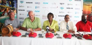 (From left) Owner of Team Concise Tony Lawson, event cordinator Howard Palmer, Senator Irene Sandiford Garner, Chief Executive Officer of the BTMI Billy Griffth and Mount Gay Branch Manager, Terry Vaughan. (Picture by Morissa Lindsay)