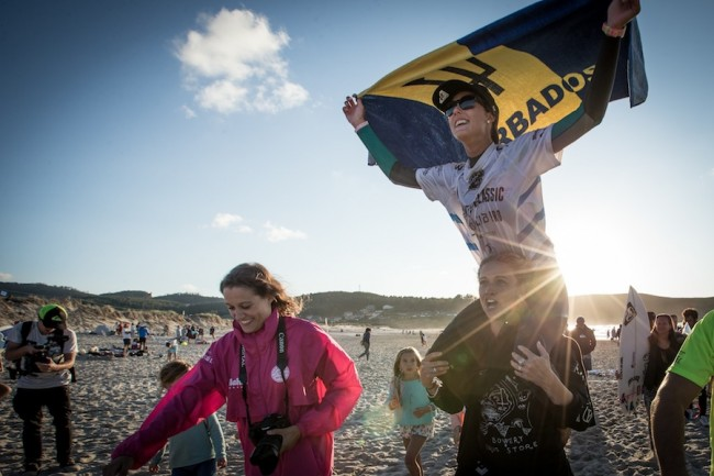 Chelsea, the professional surfer, says she loves to fly  the Barbados Flag high overseas.