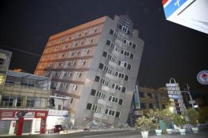 A building damaged from an earthquake in Tainan, today.