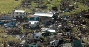 A remote Fijian village photographed from the air during a surveillance flight conducted  by the New Zealand Defence Force after Cyclone Winston.