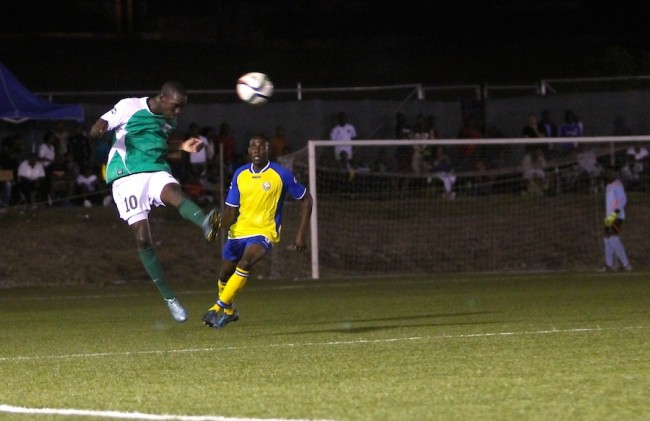 Barbados Defence Force Sports Programme captain Romario Harewood  scored a superb goal against Rendezvous. (Picture by Morissa Lindsay).