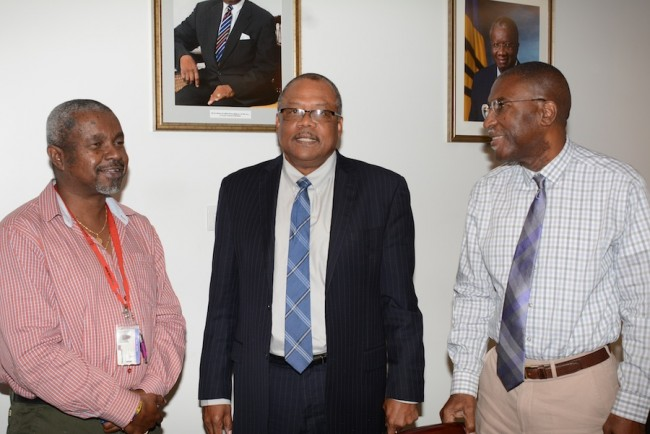 From left, Acting Chief Medical Officer Dr Kenneth George, Minister of Health John Boyce and Permanent Secretary in the Ministry of Health Tennyson Springer.