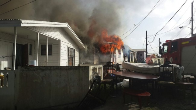 Two houses, including one belonging to 83-year-old Verda Babb, were destroyed and one damaged by fire in Goodland, St Michael this morning.