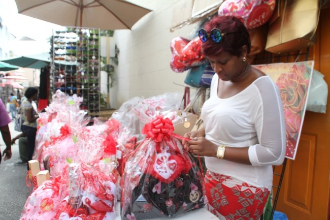Keann Walters putting the finishing touches to a gift basket.