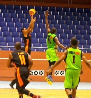 Ian Alexander goes up for two  points in his first encounter for Orange Three Pinelands against Urban Vybz St John Sonics. (Pictures by Morissa Lindsay)