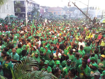 Labourites gathered in Sam Sharpe Square, Montego Bay,  yesterday evening for the Jamaica Labour Party rally.