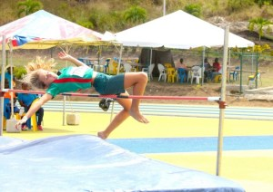 Emma Hodgkinson of St Winifred's equalled the girls open high jump at 1.23m. (Picture by Morissa Lindsay)