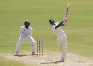 Shamarh Brooks goes over the top with this shot during his innings.