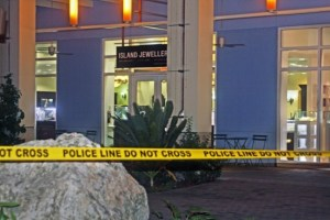 Police cordoned off the area outside of Island Jewellers in Camana Bay following Wednesday night's robbery.