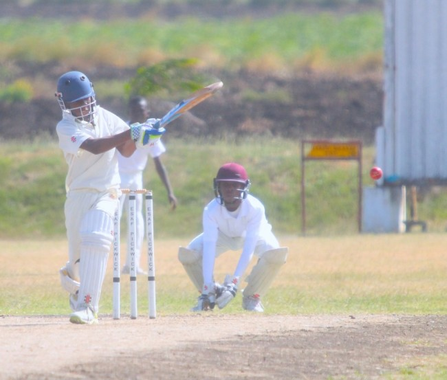 Tor Burrowes of Counterpoint Wanderers pulls during his knock of 21 not out against Pickwick juniors in the Barbados Cricket Supplies under-13 competition. (Picture by Morissa Lindsay)