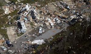 This aerial photo showing damage after a tornado ripped through the Sugar Hill Recreational Park in the town of Convent, in southern Louisiana, today.