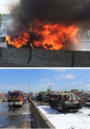 Above, the minibus ablaze. Below, The East Bank thoroughfare soon after the minibus fire was extinguished.