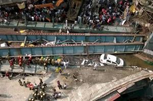 A general view of the collapsed flyover in Kolkata, India, Thursday.