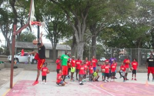 Coach Jonathan Weekes had the campers captivated with this slam dunk. (Pictures by Morissa Lindsay)
